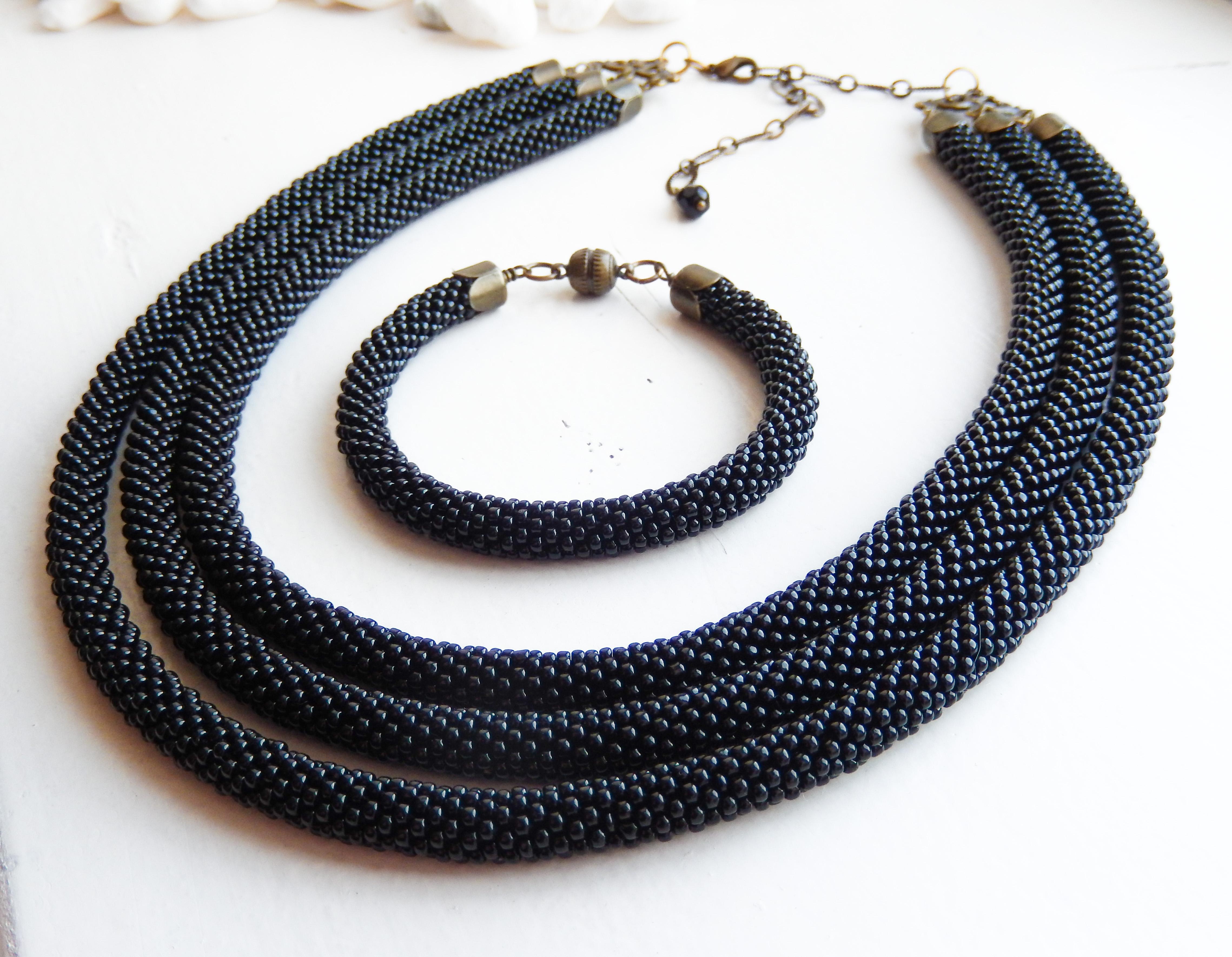 Bead Crochet Necklace & Bracelet